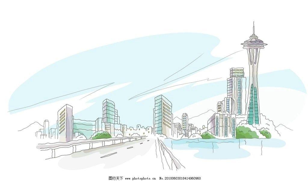 风景漫画 城市 手绘 繁华 都市 动漫动画 设计 72dpi jpg 街道