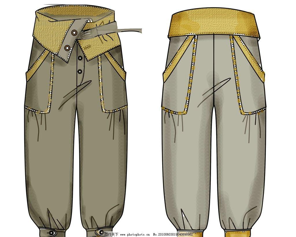 裤子款式图 裤子 时尚 款式图 美术绘画 文化艺术 矢量 cdr