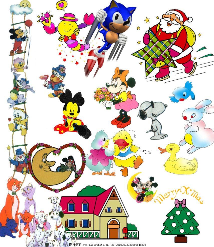 儿童模板 圣诞老人 圣诞树 儿童卡通 动物素材 分层图库 源文件