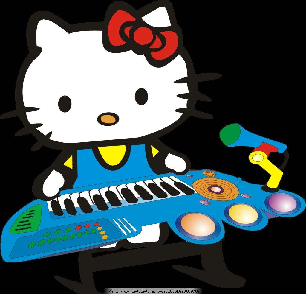 卡通猫 电子琴 音乐 可爱小猫 动漫音乐小猫 包装设计 广告设计模板