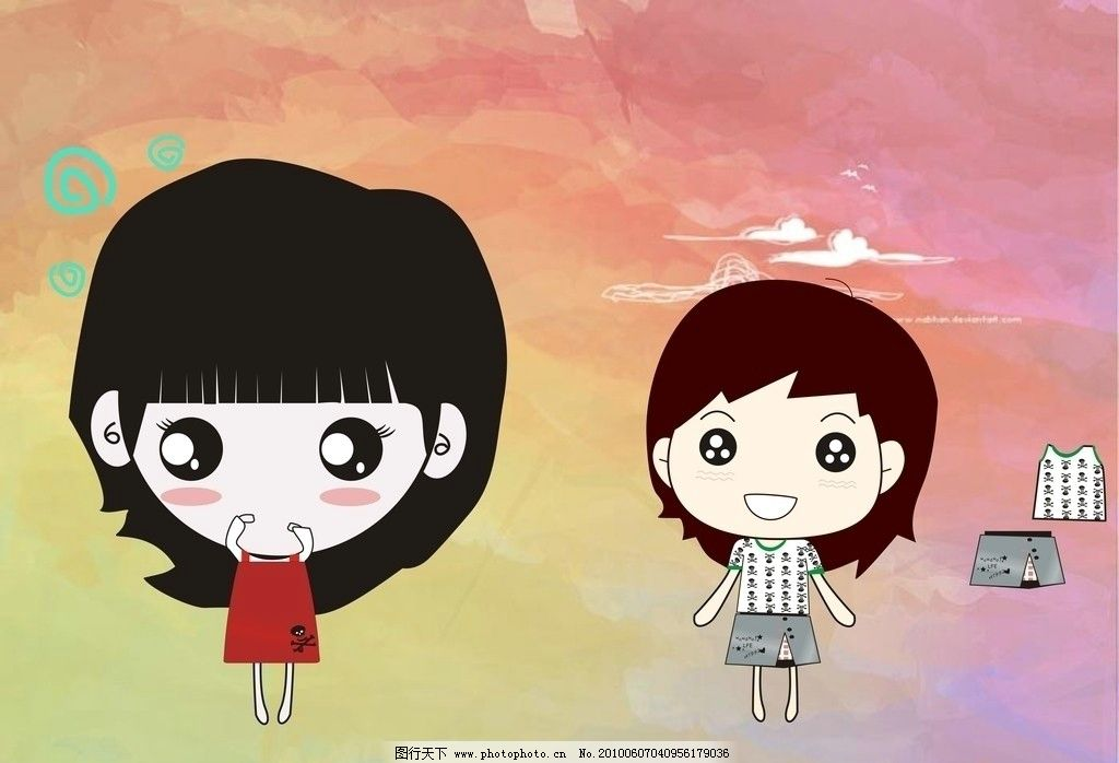 卡通可爱女孩图片