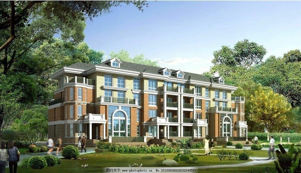 联排别墅 别墅 三层 欧式 树木 园林 庭院 建筑设计 环境设计 设计 72