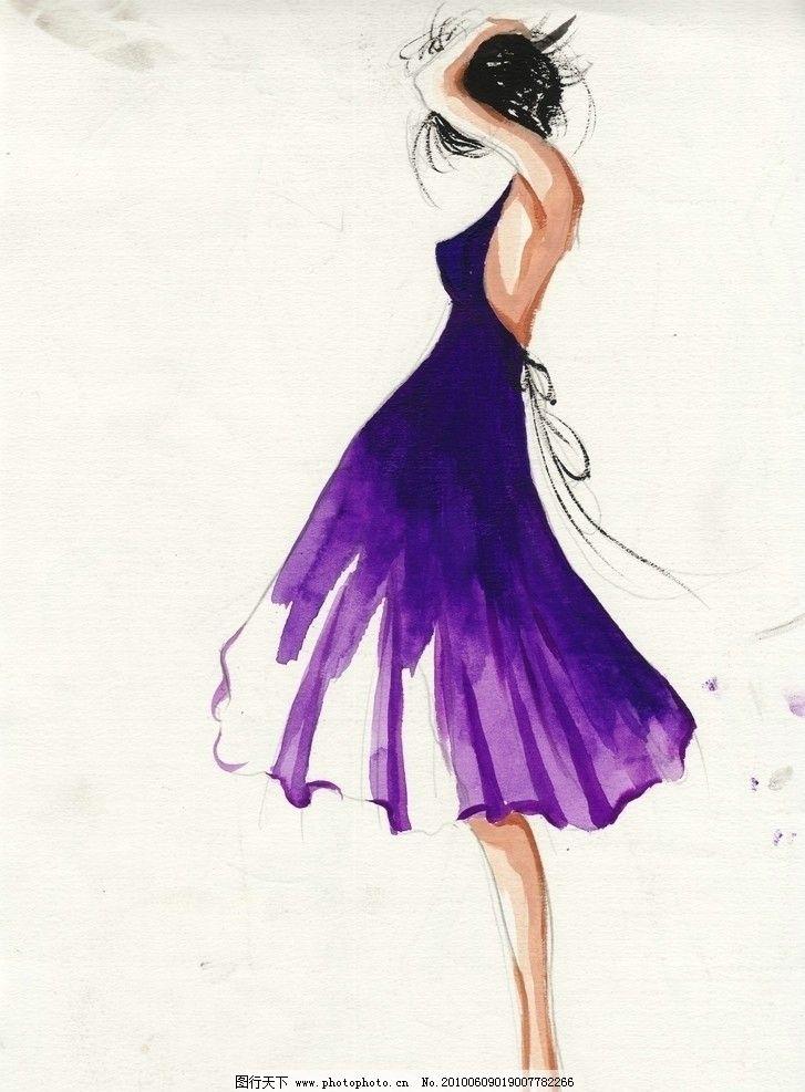 时装画 时装效果图 服装画 手绘时装画 手绘服装效果图 手绘人物 女人