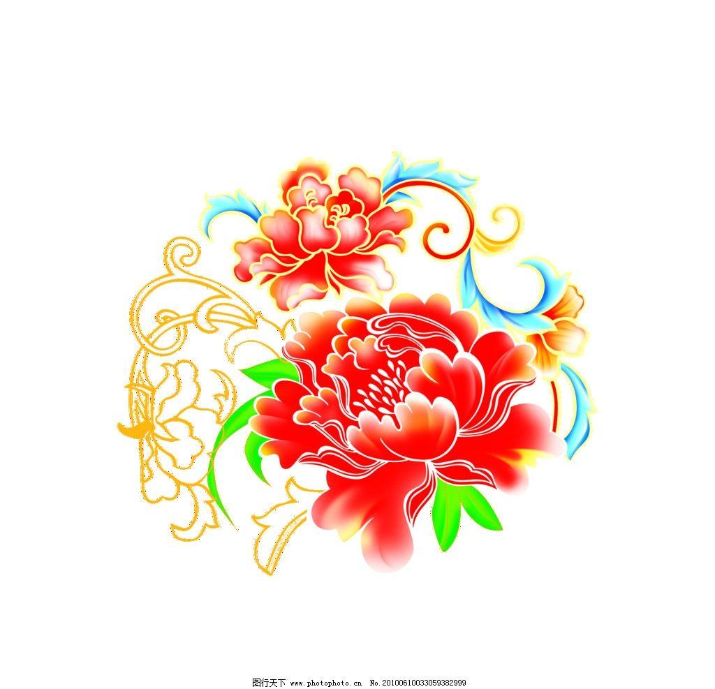 中秋素材 国花 红牡丹 背景素材 花朵 花叶 红花图片