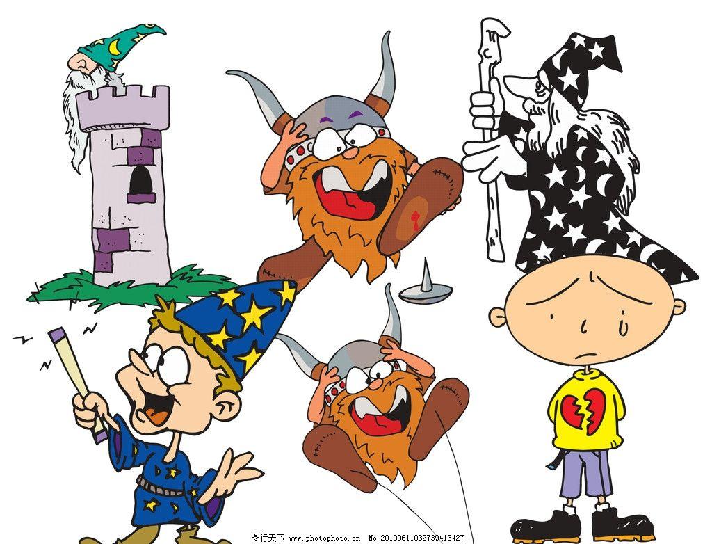 卡通人物 漫画人物 动漫人物 小孩 小矮人 魔兽 铁盔 城堡 搂塔 魔法