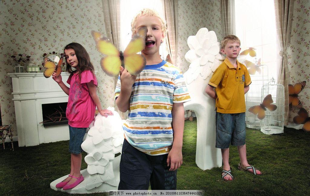 外国小朋友 小朋友 外国 可爱 男孩 女孩 漂亮 蝴蝶 室内 拍摄 友谊