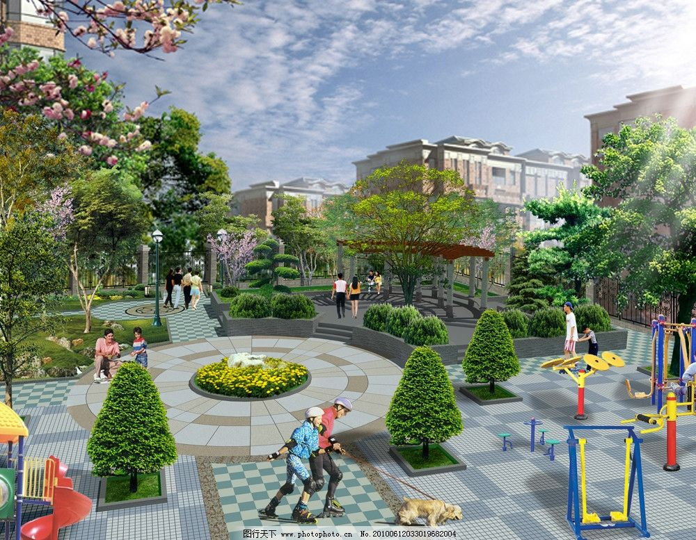 休闲小区效果图 小区 广场 休闲        椅子 蓝天 庭院灯 树林 景观