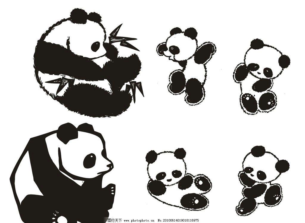 熊猫图案 熊猫 剪纸 美术绘画 文化艺术 矢量 cdr