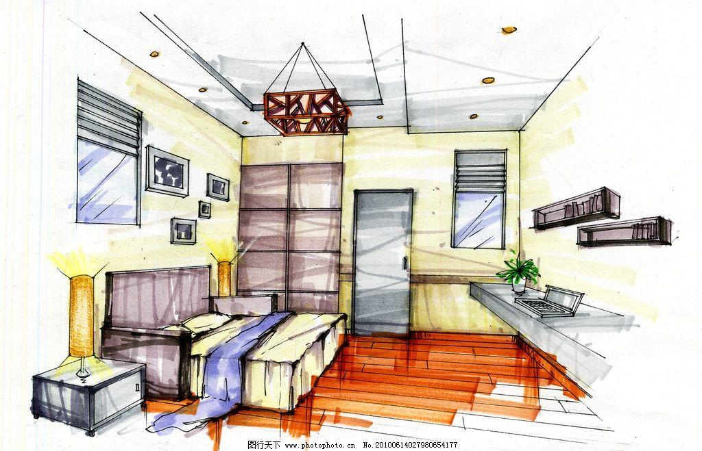 客房 室内空间 手绘效果图 房间 室内效果图