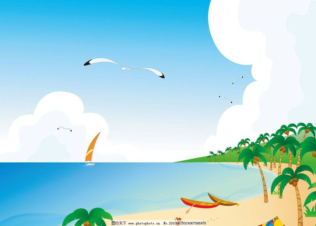 手绘夏日风景 手绘 夏日 风景 壁纸 夏天 海 风光 自然风光 自然景观