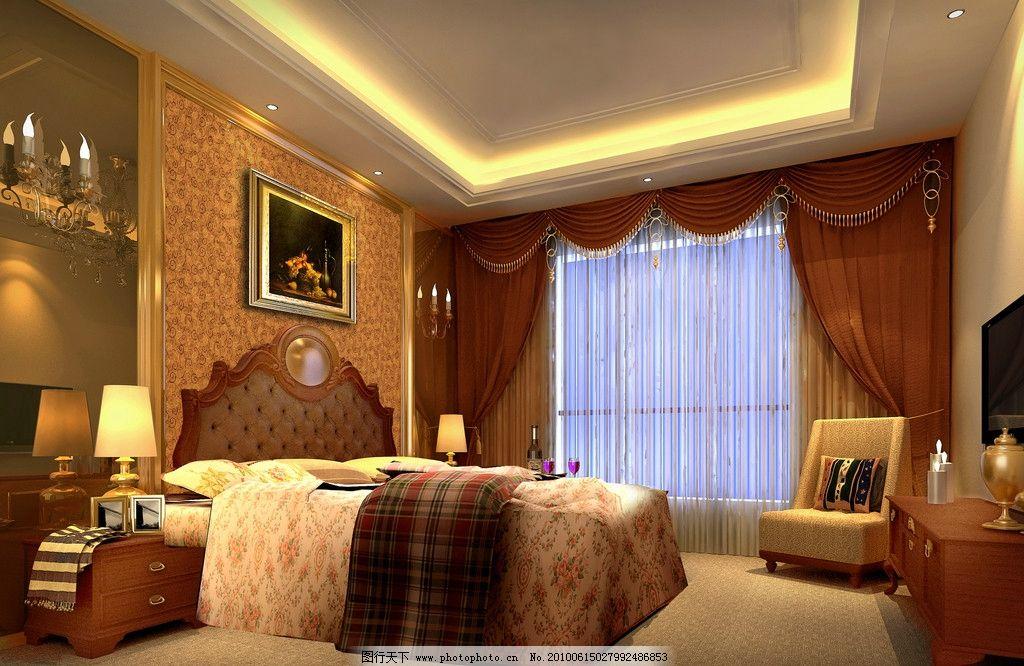卧室效果图      室内装饰 沙发 地毯 台灯 床 室内效果图 3d设计