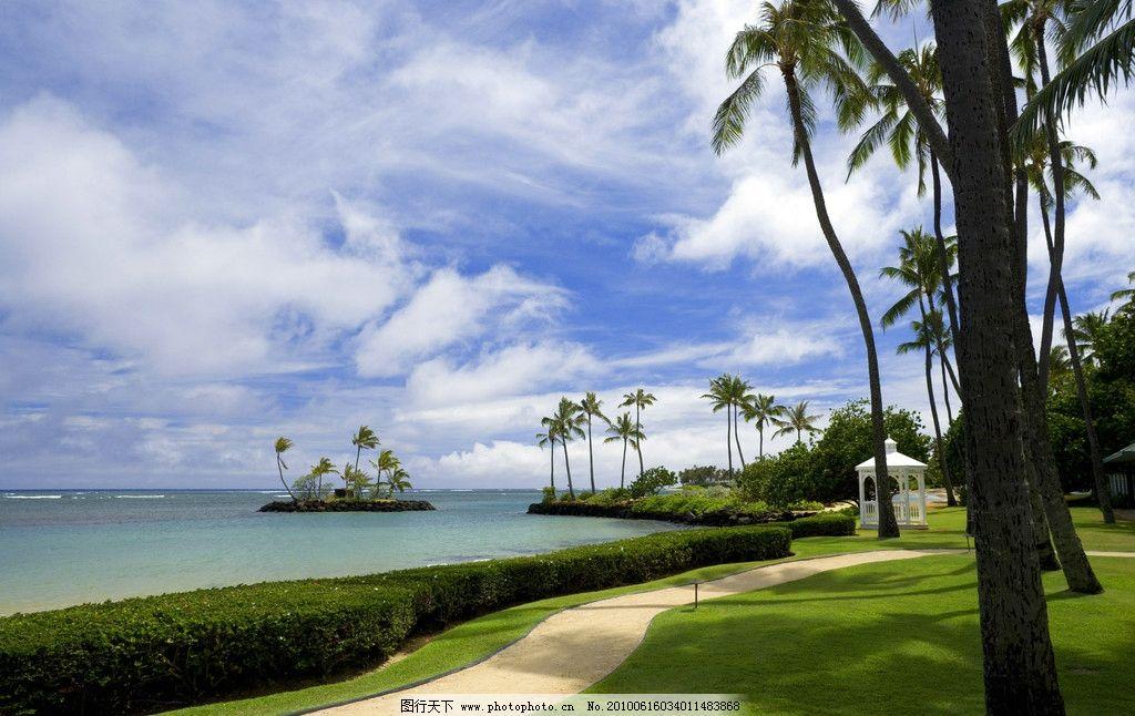 夏威夷海滨 大海 椰树 草地 绿色植物 小道 亭台 蓝天白云 美国夏威夷