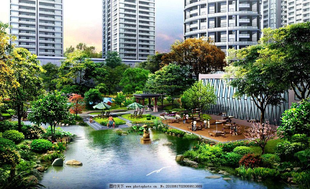景观设计 建筑造型 园林 绿化 亭子 假山 水景 花坛 小区 大楼