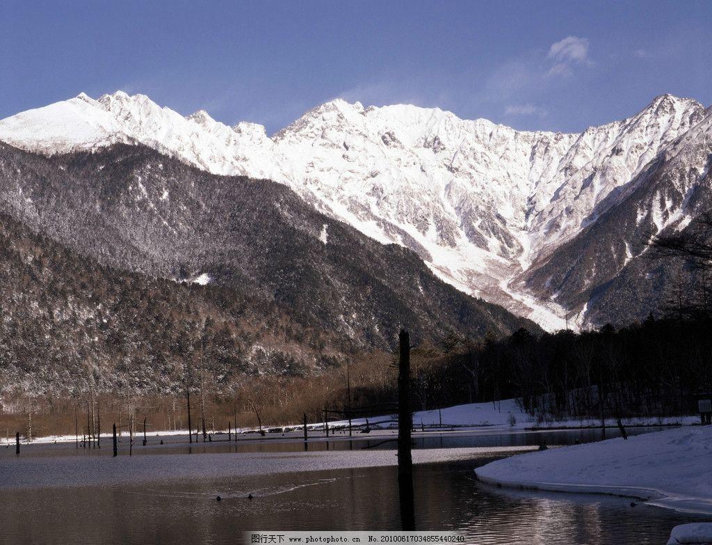 富士山 雪景 山 河流 山川 雪山 树木 自然风景 自然景观 摄影 350dpi
