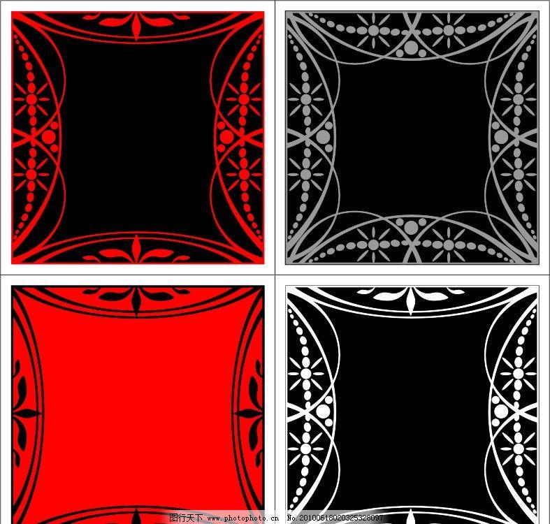矢量花纹花边四款 矢量 花纹 边框 黑白 黑红色 小花 四款 古典 花纹