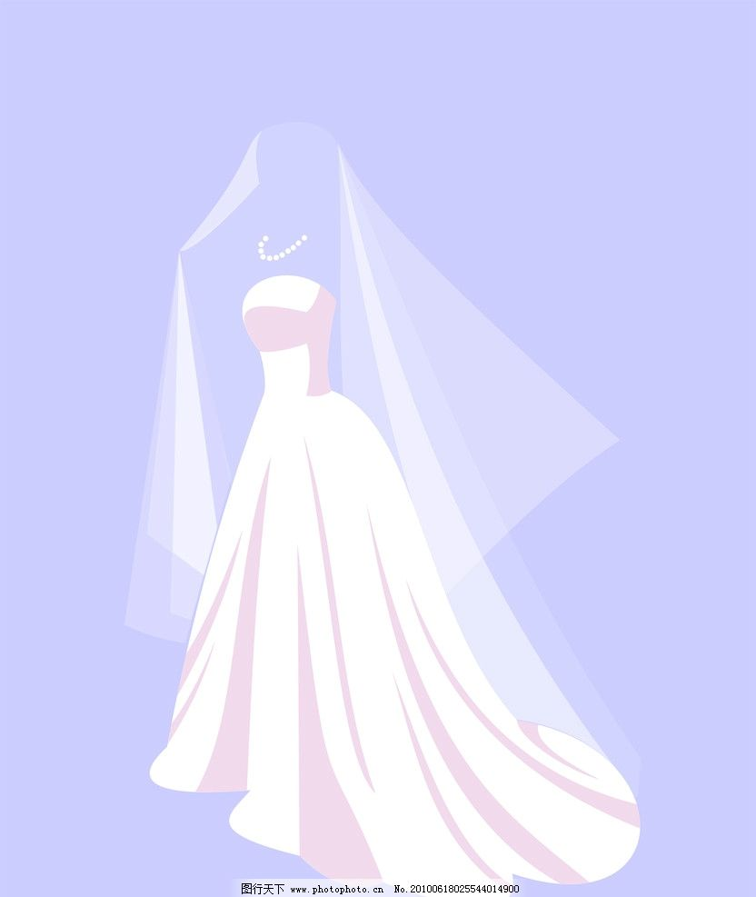 婚纱礼服 衣服 头纱 晚宴 矢量