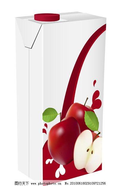 包装盒矢量素材 包装 果汁 苹果汁 空白 纸箱 木箱 牛奶包装 牛奶盒