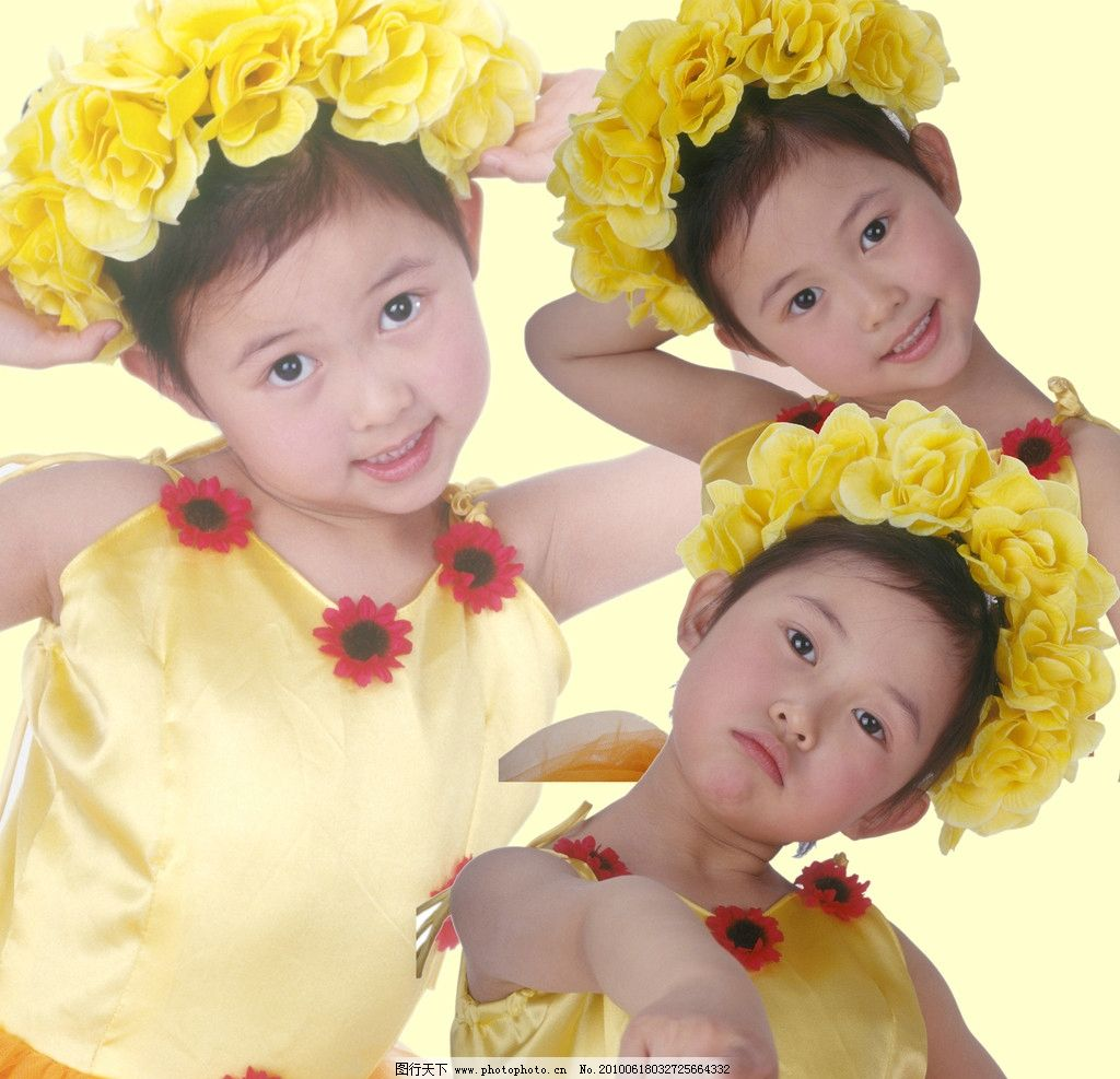 儿童 小孩 女孩 姿势 手势 头花 可爱 天真 幼儿 少儿 人物