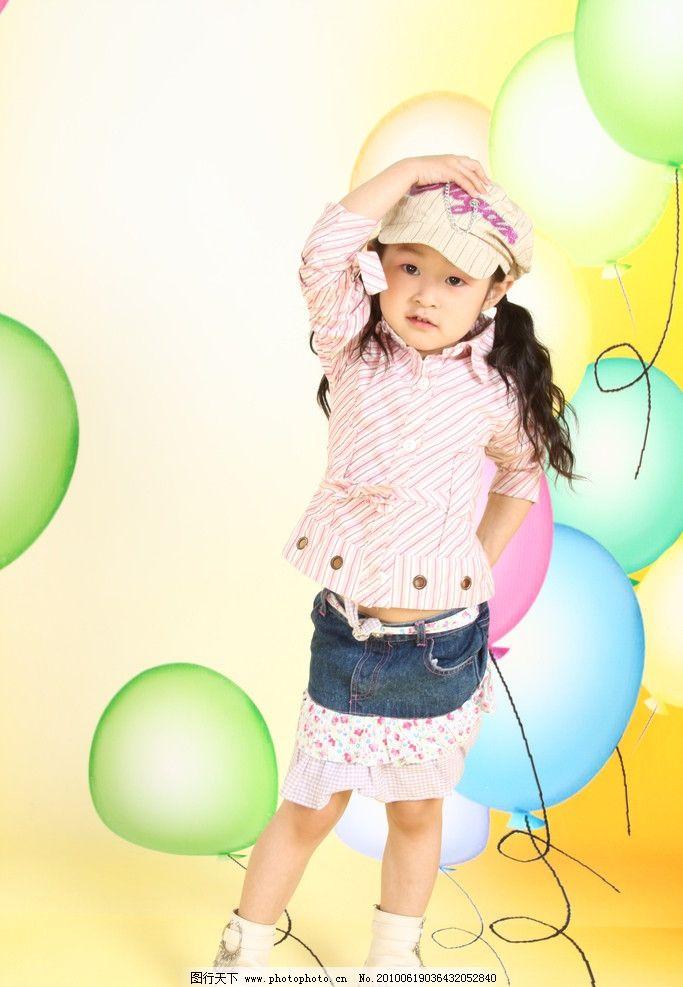 戴帽子 的 长发 小女孩 气球 黄色背景 裙子 黄色 背景 儿童幼儿 人物