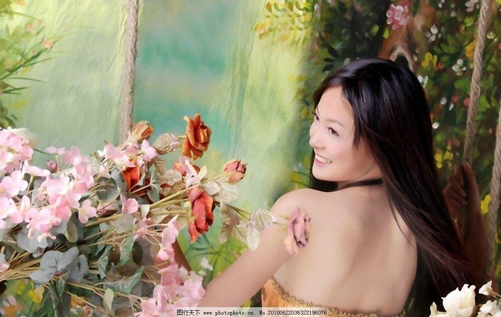 美女鲜花 摄影图库 人物摄影 模特 写真
