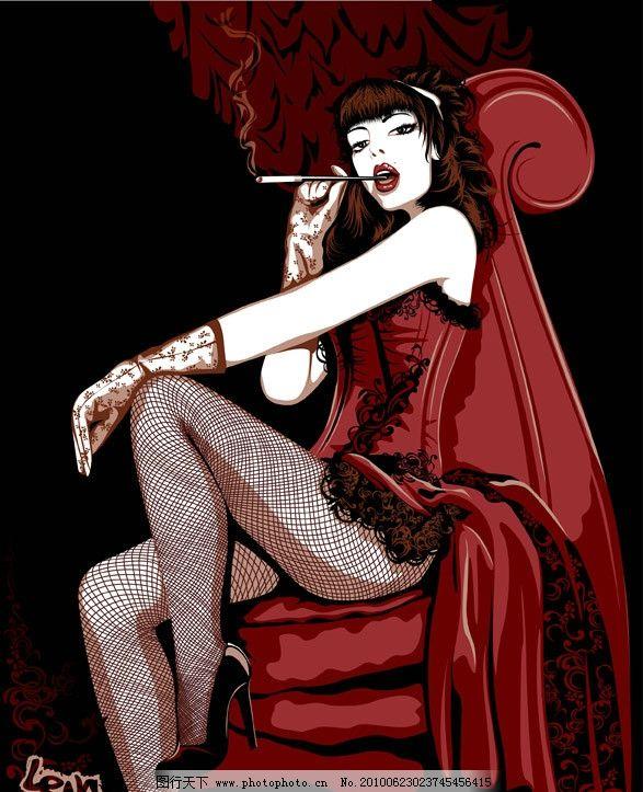 抽烟的女人矢量素材 女人 人物 女郎 女性 抽烟 坐姿 矢量素材 夜点