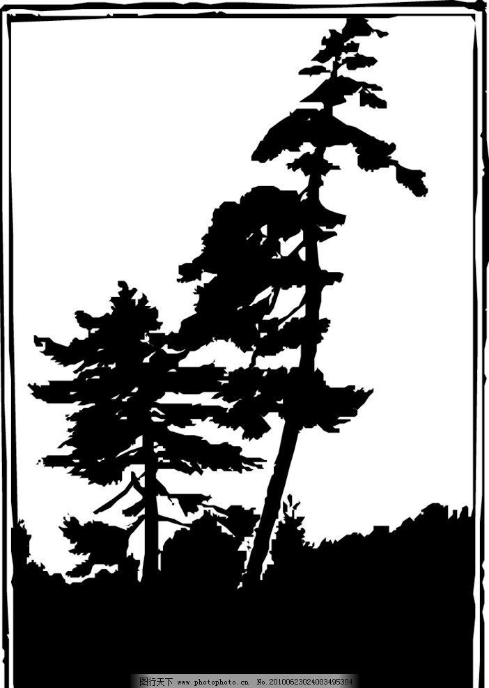 白描松林 白描 剪影 山水 松林 山坡 自然风景 自然景观 矢量 eps