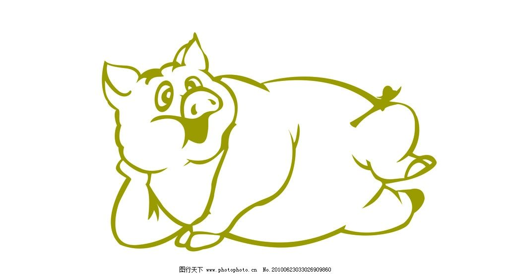 卡通猪 睡觉 猪 peg psd 白线图 线图 分层 源文件 卡通 动物 家禽 肉