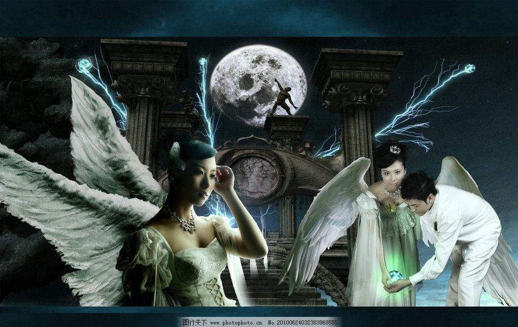 欧式婚纱模板 摄影模板 婚纱摄影 天使 月色 古堡 婚纱摄影模板