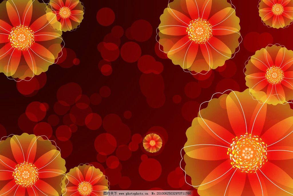 可爱的红色花朵背景图片_背景素材_psd分层_图行天下