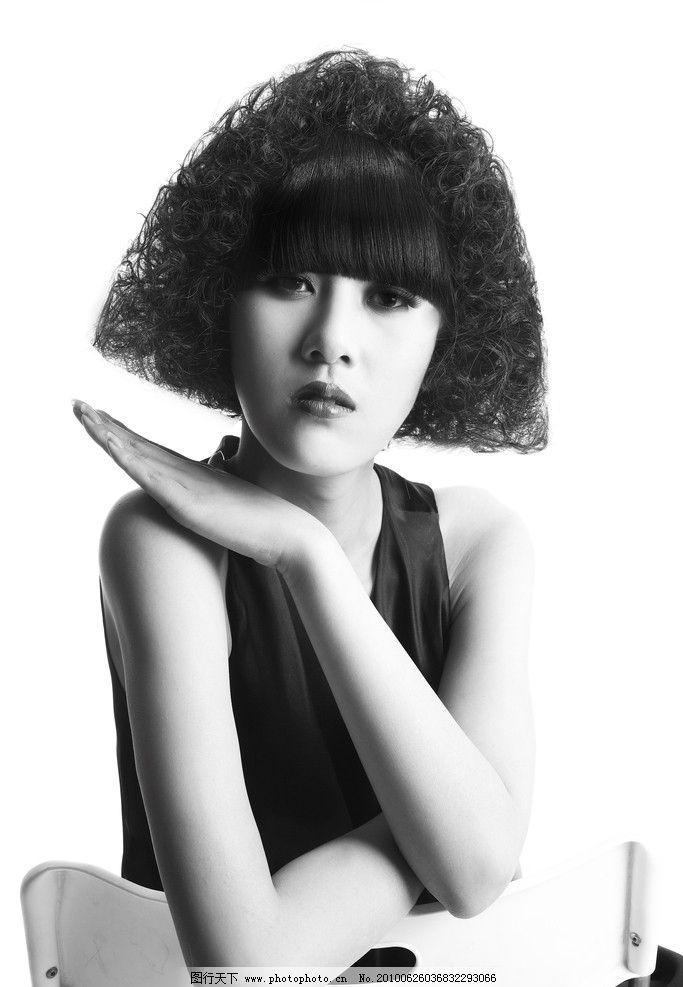 欧式发型 黑白照片