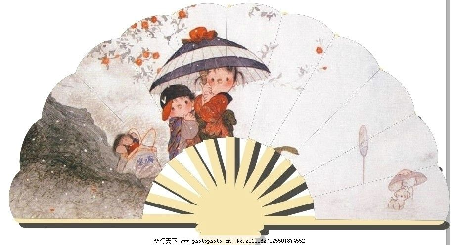 扇子 纸扇设计 古典 中国风 儿童 牧笛 中国画 广告设计 矢量图片