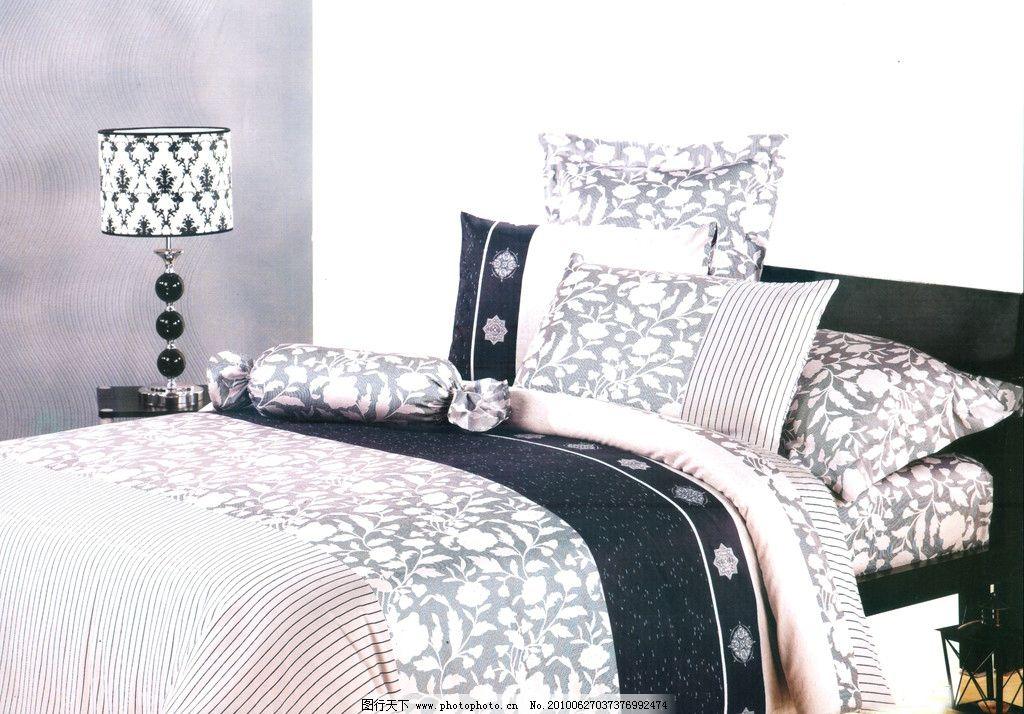 梦飞被子贡缎印花四件套 家纺 枕头 床 台灯 花纹 高清晰 知画