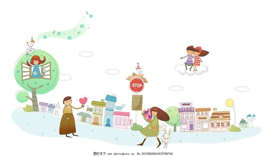 情侣 浪漫 简笔画 可爱 温暖 小孩子 壁纸 小房子 心形 鸽子 唱歌 音乐