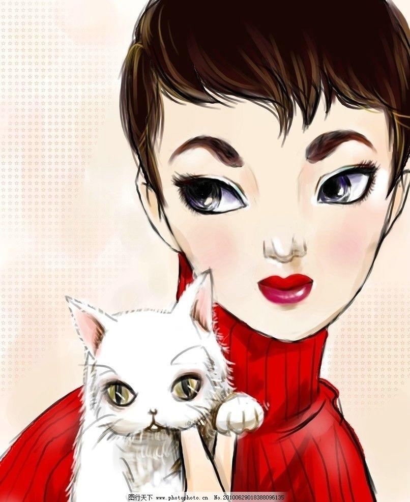 女人与猫 美女猫咪 卡通 动漫人物 动漫动画 设计 78dpi jpg