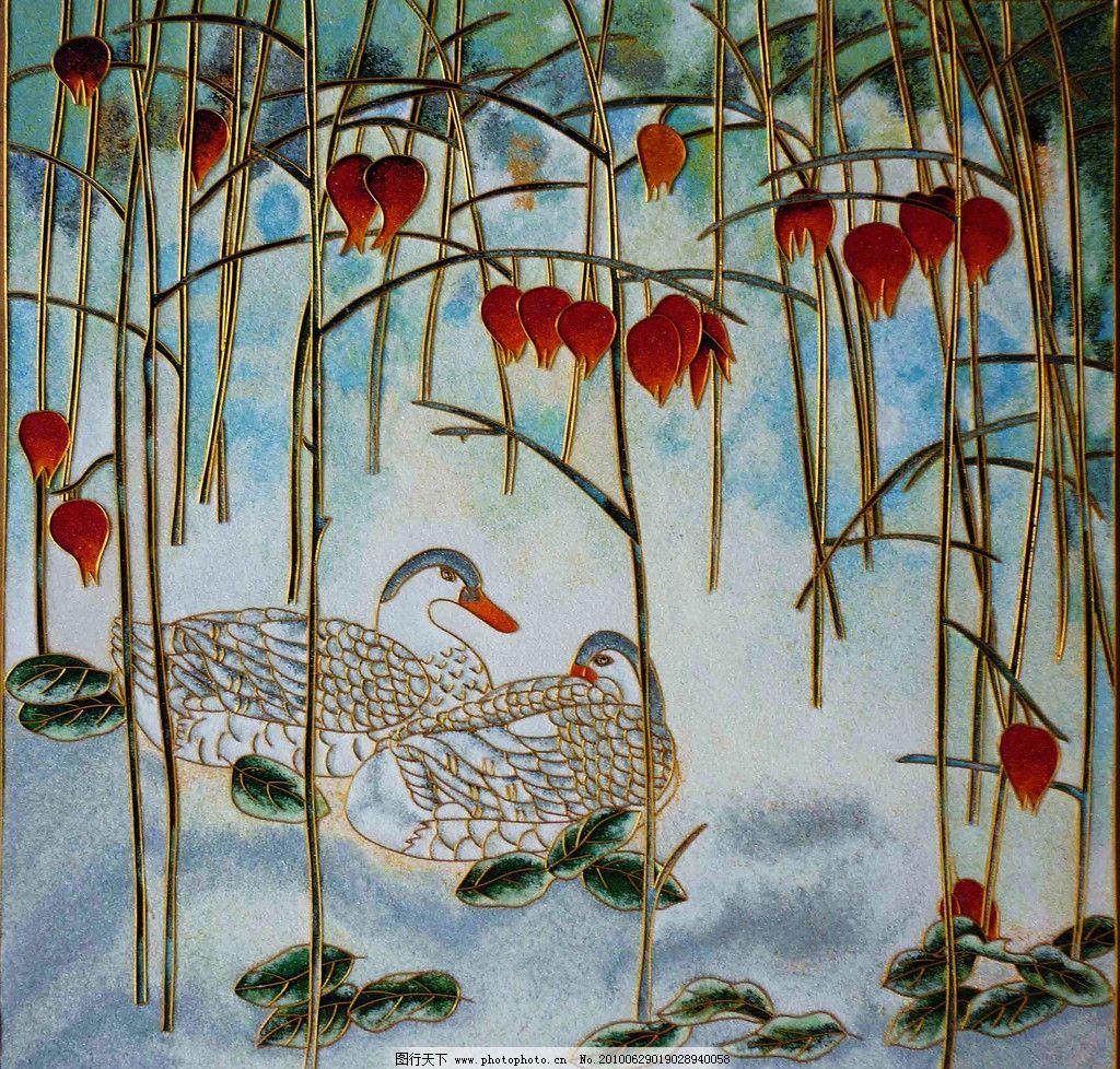装饰画 美术 绘画 工笔画 色彩画 动物 植物 鸭子 游水 树木