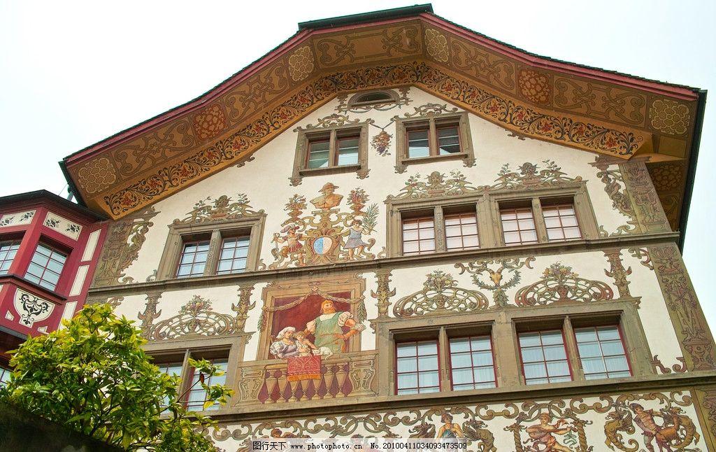 瑞士,琉森,街面房屋上的裝飾畫,街面上房屋的裝飾畫,聖經人物畫,美麗圖畫,富有特色